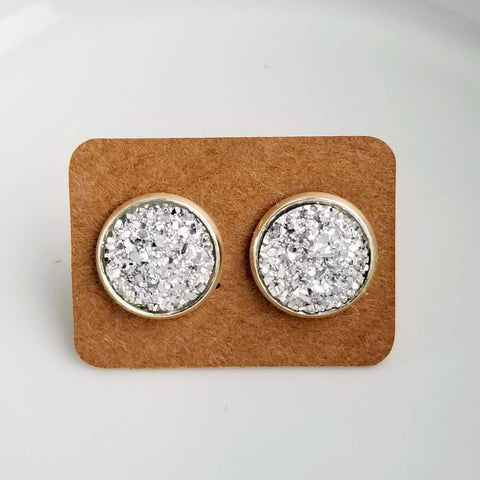 12mm Silver Druzy Stud Earrings Post Earring Silver Earring Druzy Studs Druzy Jewelry Earrings for Girls Faux Druzy Lightweight Earrings