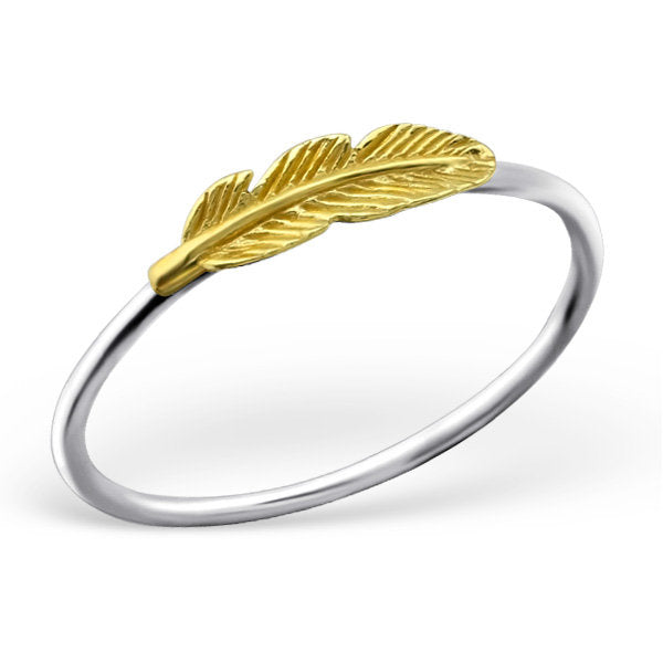 Gold Feather Ring  | 925 Sterling Silver | Feather Ring | Boho Ring | Bohemian Rings | Gift for Her | Boho Feather Ring | Stacking Ring