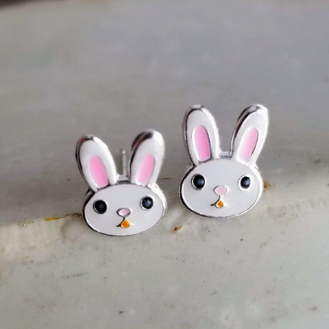 Silver Rabbit Ear Studs Earrings 925 Sterling Silver | Peter Rabbit Earrings Stud Earring Silver Earrings Rabbit Lover Gift Bunny Stud