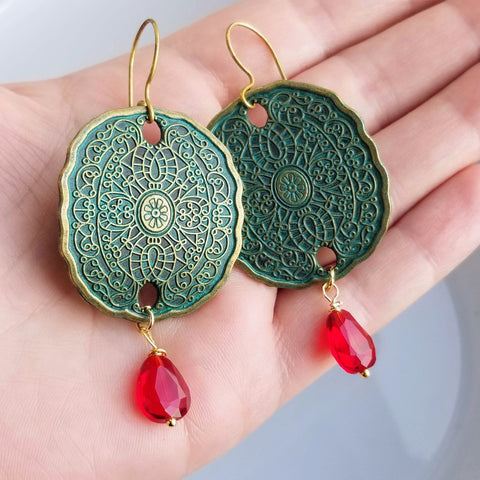 Patina Red Drop Earrings Verdigris Patina Jewelry Boho Jewelry Southwest Earrings Casual Earrings Gypsy Jewelry Boho Earrings