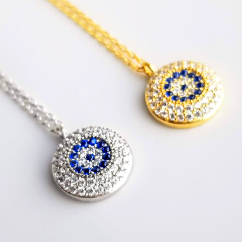 Silver Evil Eye Necklace Gold Evil Eye Jewelry Evil Eye Pendant Evil Eye Charm Protection Necklace Dainty Necklace Eye Necklace