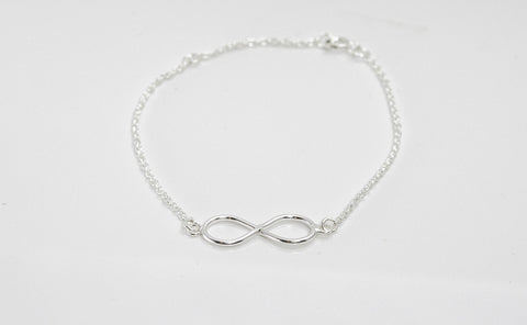 Infinity Bracelet Figure 8 Minimalist Adjustable Rhodium on Sterling Silver