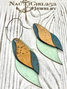 Beautiful Unique Genuine Portuguese Cork Jewelry designed and handmade on the Outer Banks of North Carolina - Nautigirl252jewelry vegan leather alternative sustainable fashion animal free jewelry