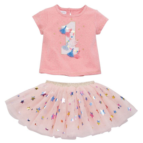 "Image of Mud Pie Birthday Girl ""1"" Birthday Skirt Set Size 12-18 Months"