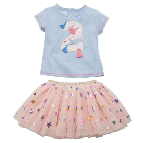 "Mud Pie Birthday Girl ""2"" Birthday Skirt Set Size 2T"
