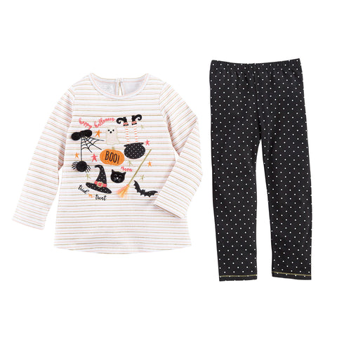 Image of Mud Pie Girls Halloween Tunic and Pant Set 3M-5T