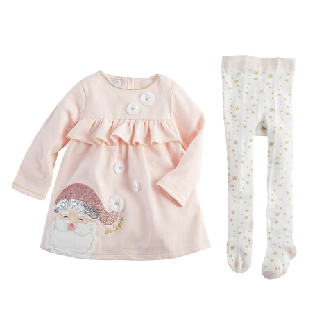Image of Mud Pie Christmas Holiday Santa Dress And Tights Set