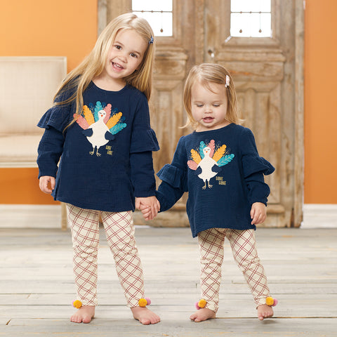 Image of Mud Pie Girls Thanksgiving TurkeyTunic and Pant Set 3M-5T
