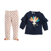 Mud Pie Girls Thanksgiving TurkeyTunic and Pant Set 3M-5T