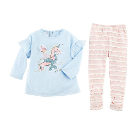 Mud Pie Girl Mermaid Tunic And Legging Size 12 Months to 5T