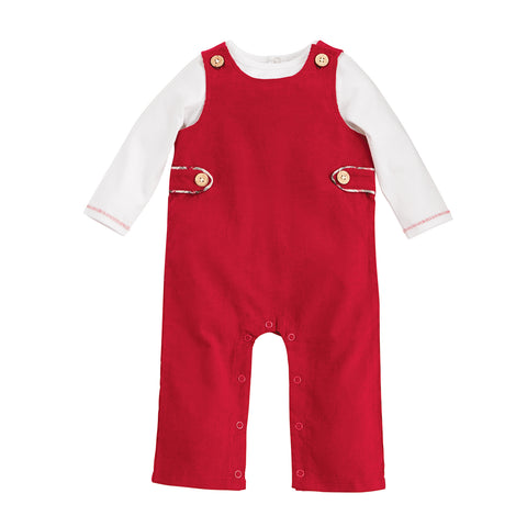 Image of Mud Pie Baby Boys Christmas Holiday Red Corduroy Longall Set