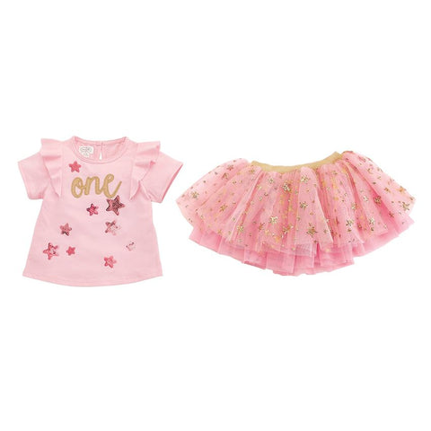 Image of Mud Pie One Birthday Skirt Set Size 12/18 Months