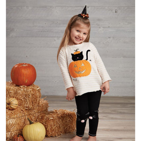 Image of Mud Pie Girls Halloween Cat Tunic And Legging Set 12M-5T