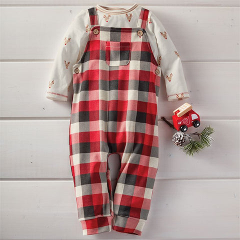 Mud Pie Christmas Holiday Buffalo Check Overall Set