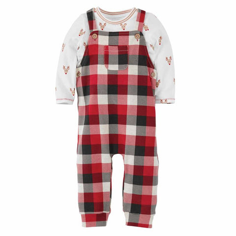 Mud Pie Christmas Holiday Reindeer Buffalo Check Overall Set