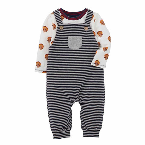 Mud Pie Boy Thanksgiving Turkey Overall Set