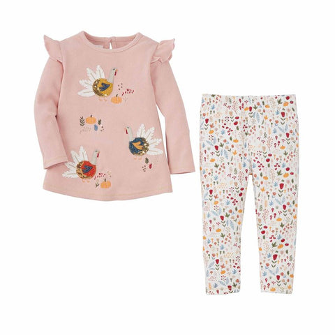 Image of Mud Pie Girls Thanksgiving Turkey Tunic and Pant Set 3M-5T