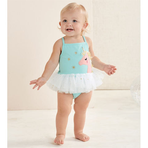 Image of Mud Pie Baby Girl Unicorn Mesh Tutu One-Piece Swimsuit