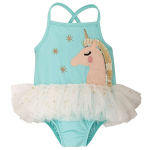 Mud Pie Baby Girl Unicorn Mesh Tutu One-Piece Swimsuit