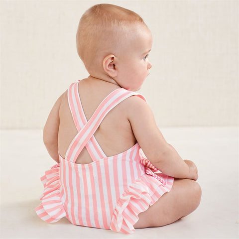Mud Pie Baby Girl Striped Pink Bow Swimsuit Size 3 Months to 5T