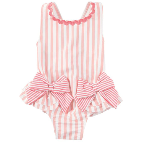 Image of Mud Pie Baby Girl Striped Pink Bow Swimsuit Size 3 Months to 5T