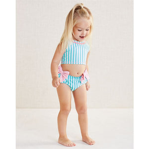 Mud Pie Baby Girl Striped Aqua Bow Swimsuit Size 3 Months to 5T