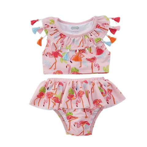 Mud Pie Baby Girl Tassel Flamingo Two-Piece Swuimsuit Size 3 Months to 5T