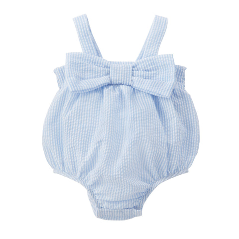 Mud Pie Baby Girl Seersucker Bow Swimsuit Size 3 Months to18 Months