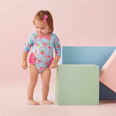 Image of Mud Pie Baby Girl Flamingo One-Piece Rash Guard Size 3 Months to 18 Months