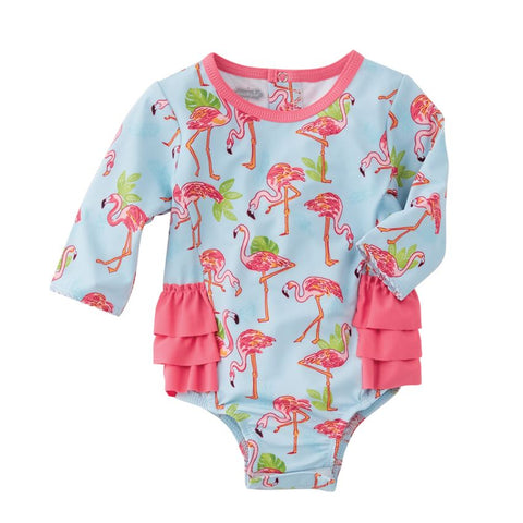 Mud Pie Baby Girl Flamingo One-Piece Rash Guard Size 3 Months to 18 Months