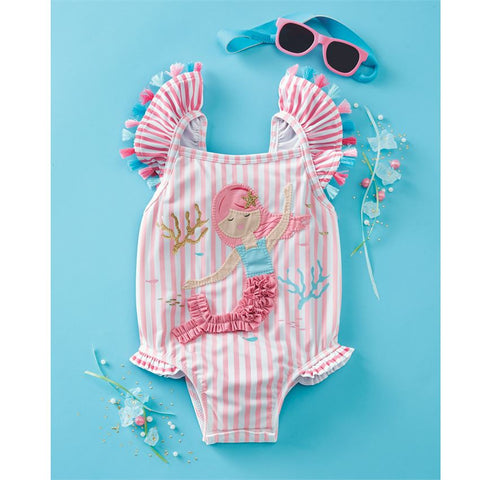 Image of Mud Pie Baby Girl Mermaid One-Piece Swimsuit Size 3 Months to 5T