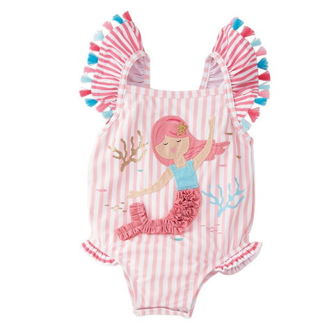 Mud Pie Baby Girl Mermaid One-Piece Swimsuit Size 3 Months to 5T