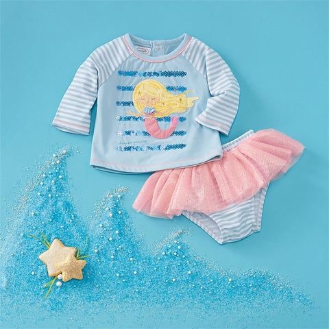 Image of Mud Pie Baby Girl Mermaid Rash Guard Swimsuit Set Size 3 Months to 5T