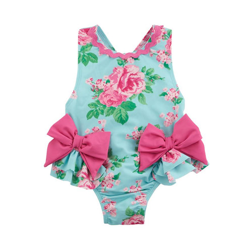 Mud Pie Baby Girl Rose Bow Swimsuit Size 3 Months to 5T