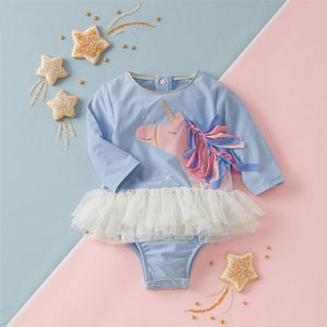 Mud Pie Baby Girl Unicorn One-Piece Rash Guard Swimsuit Size 3 Months to 5T