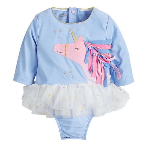 Image of Mud Pie Baby Girl Unicorn One-Piece Rash Guard Swimsuit Size 3 Months to 5T
