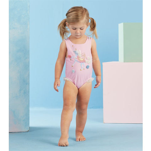 Image of Mud Pie Girl Pink Unicorn Swimsuit Size 3 Months to 5T
