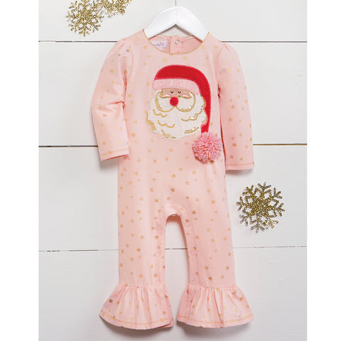 Image of Mud Pie Baby Girl Christmas Holiday Santa Ruffle Long Sleeve One-Piece 3 Months-12 Months