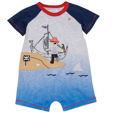 Image of Mud Pie Baby Boy Pirate Shortall Size 3 Months to 18 Months