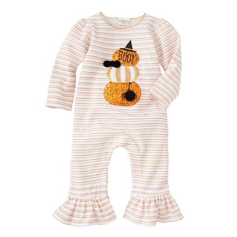 Mud Pie Baby Girl Halloween Stackd Pumpkin Ruffle Long Sleeve One-Piece 3 Months-12 Months