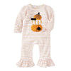 Mud Pie Baby Girl Halloween Stacked Pumpkin Ruffle Long Sleeve One-Piece 3 Months-12 Months