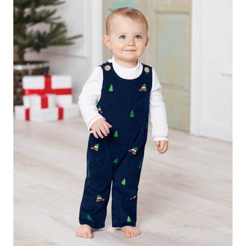 Image of Mud Pie Baby Boys Christmas Holiday Navy Corduroy Embroidered Longall Set