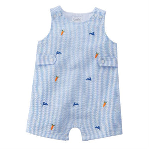 Mud Pie Baby Boy Easter Bunny Schiffli Shortall Size 3 Months to 18 Months