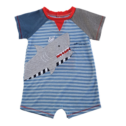 Mud Pie Baby Boy Shark Zipper-Mouth Shortall Size 0-3M / 6-9M