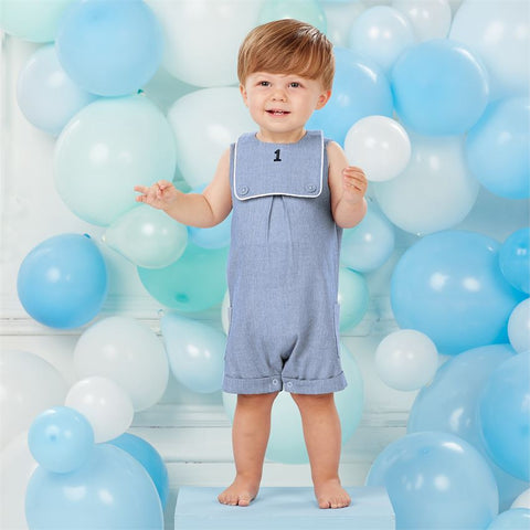Image of Mud Pie Little Boy Birthday Shortall & Bib 12-18 Months