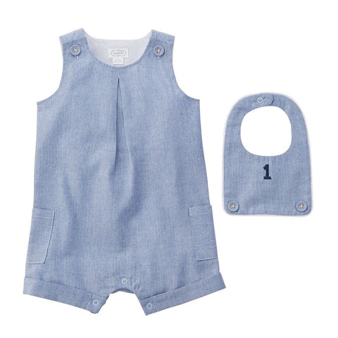 Mud Pie Little Boy Birthday Shortall & Bib 12-18 Months