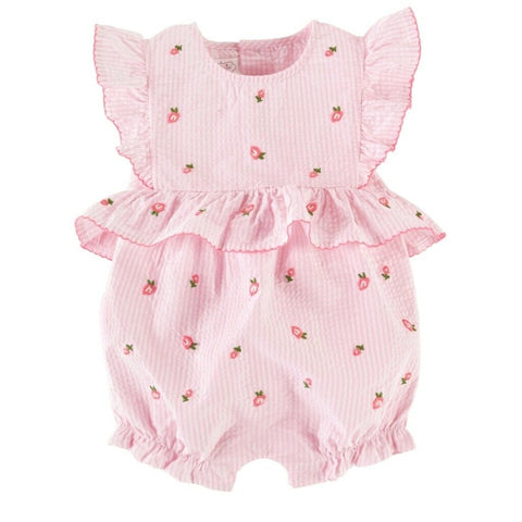 Image of Mud Pie Baby Girl Rose Embroidered Bubble / Romper 3M-18M