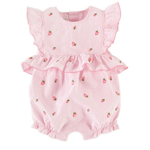 Mud Pie Baby Girl Rose Embroidered Bubble / Romper 3M-18M