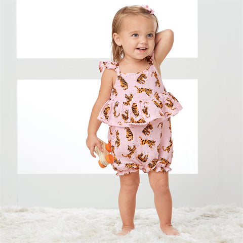Image of Mud Pie Girls Tiger Muslin Romper / Bubble Set 3M-18M