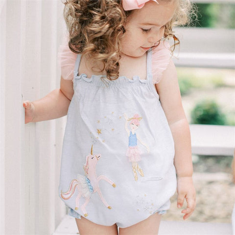Image of Mud Pie Baby Girl BALLERINA Unicorn Bubble Romper 3M-18M